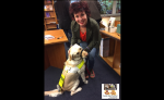 Me guide dog Fletcher receiving fuss from Ruby Wax