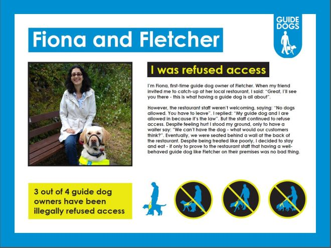 Me guide dog Fletcher and my human Fiona sitting on a bench with lots of text describing case study
