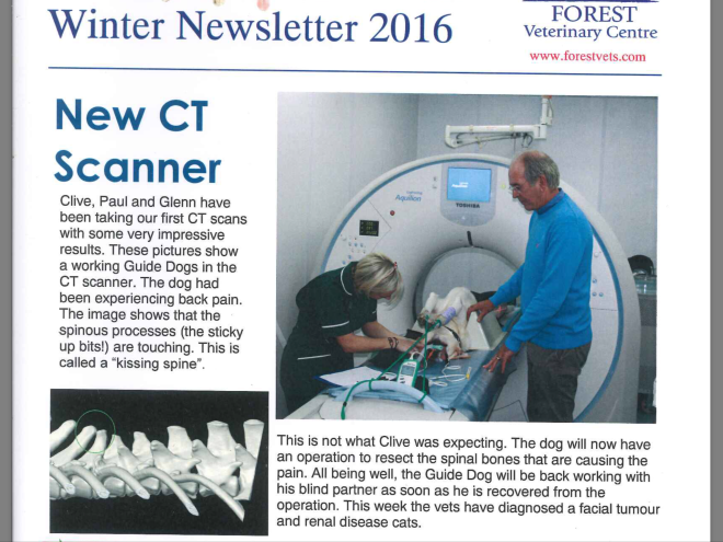 "Me guide dog Fletcher upside down in a CT scanner which is a white donut. I'm on the bed with tubes attached and my nurse and vet are nearby. There's also an CT scan of my kissing spine. The text says: Forest Veterinary Centre Winter Newsletter 2016. New CT Scanner. Clive, Paul and Glenn have been taking our first CT scans with some very impressive results. These pictures show a working Guide Dog in the CT scanner. The dog had been experiencing back pain. The image shows the spinous processes (the sticky up bits!) are touching. This is called a ""kissing spine"". This is not what Clive was expecting. The god will now have an operation to resect the spinal bones that are causing the pain. All being well, the Guide Dog will be back working with his blind partner as soon as he is recovered from the operation. Posted in pawsatthekerb."