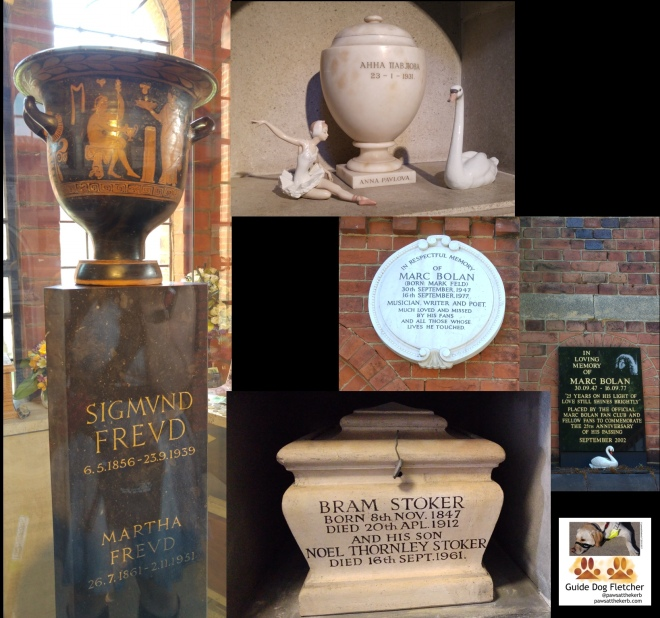 Collage of memorials and ashes containers of Sigmund Freud. He has a brown marble column with his name and an urn on top and is behind glass. Anna Pavlova's oval urn with a ballerina and swan to either side. Marc Bolan's memorial plates on a brick wall. One plate is cream and circular the other is black with gold writing. At the bottom of the photo is a coffin shaped urn for Bram Stoker and family. @pawsatthekerb