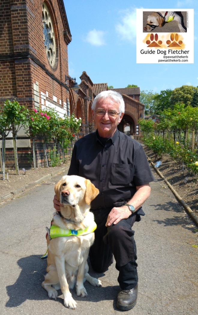 Me guide dog Fletcher looking reflective with Eric Willis from Golders Green Crematorium. I'm in my guide dog harness and have golden fur. Eric has grey hair, white skin and is wearing a black short sleeved shirt with black trousers. In the distance are roses which smelled lovely and the brickwork of the crematorium. @pawsatthekerb